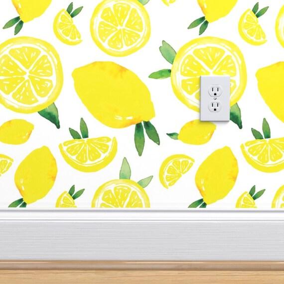 Yellow Lemons Jumbo Print Wallpaper Lemon Pattern By Alexis Etsy