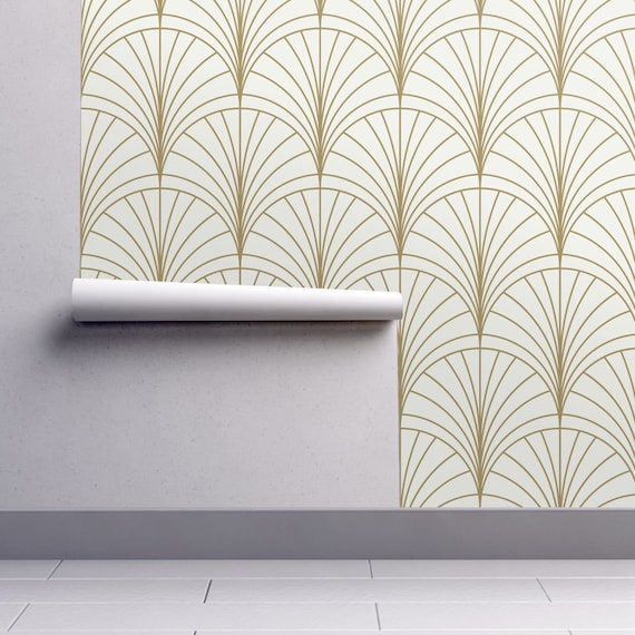 Art Deco Wallpaper Burst Gold On White By Anvil Studio Art Etsy