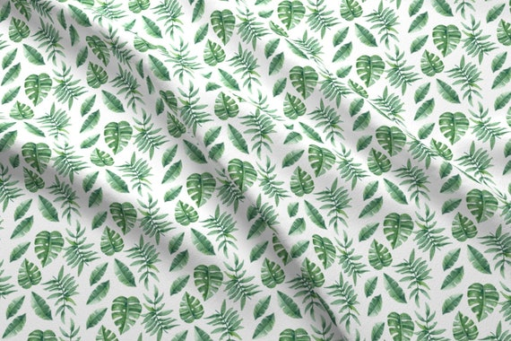 3ad22ee3 Monstera Fabric Tropical Leaves Palm Leaf Frawn Banana Water | Etsy