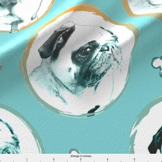 Fabric Upholstery Craft Panel Watercolour Grunge Pug Dog Fabric portrait