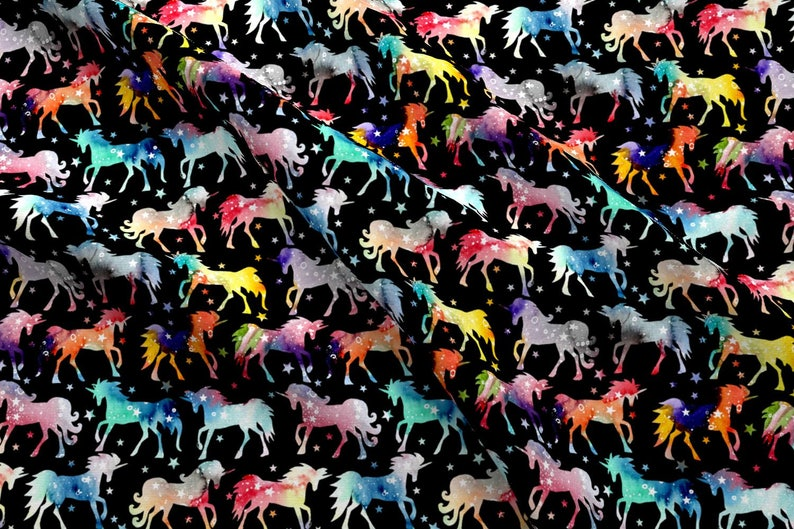 24cd93529d55 Rainbow Unicorn Fabric Rainbow Watercolor Galaxy Unicorns