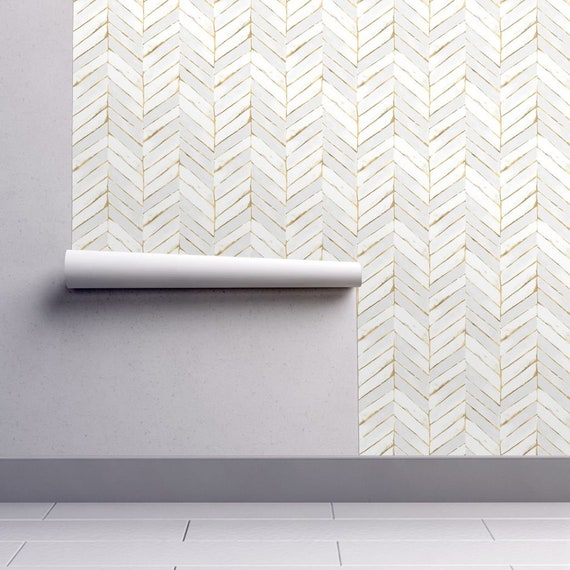 Chevron Wallpaper   Chevron Painted White Gold By Crystal Walen   Gold Custom Printed Removable Self Adhesive Wallpaper Roll By Spoonflower by Etsy
