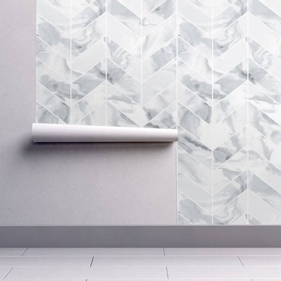 Marble Tile Wallpaper   Carrera Marble Chevron By Willowlanetextiles   Custom Printed Removable Self Adhesive Wallpaper Roll By Spoonflower by Etsy