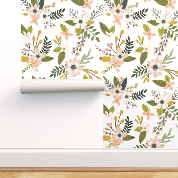 Floral Wallpaper Sprigs And Blooms Blush Oversized By Ivie Cloth Co Custom Removable Self Adhesive Wallpaper Roll By Spoonflower