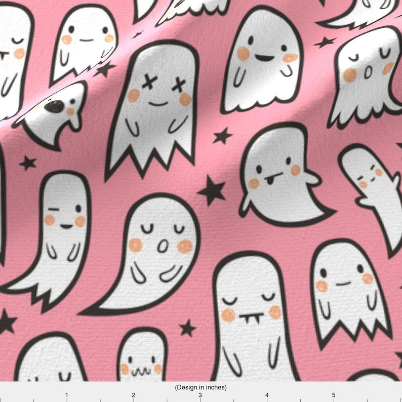37321f87853 Kawaii Ghost Fabric Ghosts And Stars Halloween Pink and | Etsy