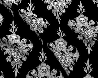 Skull Damask Fabric - Skull Flower Damask Negative By Thecalvarium- Skull Damask Floral Halloween Cotton Fabric By The Yard With Spoonflower