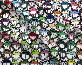 Rainbow Smiles Fabric - Smile - And The World Smiles Back At You! By Bonnie Phantasm - Smile Cotton Fabric By The Yard With Spoonflower