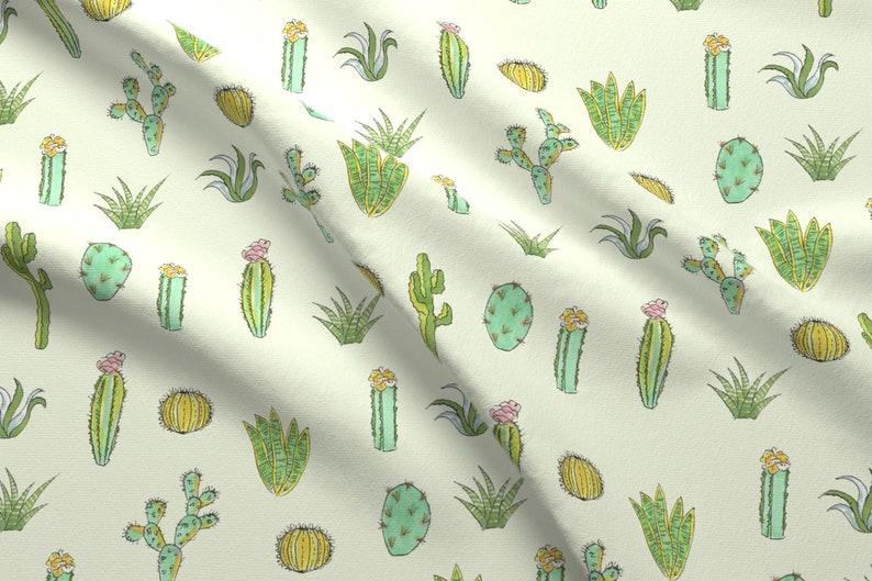 d9d831d6a9 Watercolor Desert Cactus Fabric Cactus Print Mint Green By