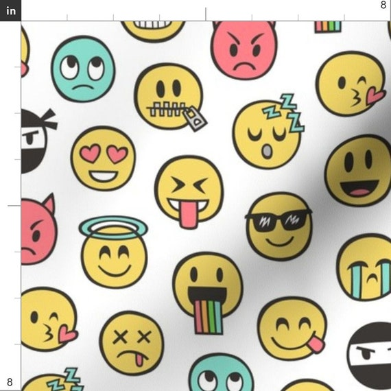 Polycotton Fabric FUN HAPPY SMILEY FACES EMOJI  Metre Special Offer