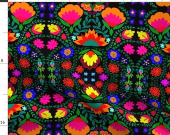 Mexican Folk Art Floral Fabric - Fiesta By Napolicreates - Bright Colorful Mexican inspired Cotton Fabric By The Yard With Spoonflower
