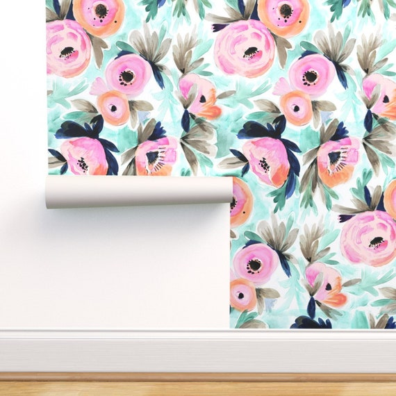 Tropical Floral Wallpaper Summer Blooms By Crystal Walen Watercolor Custom Printed Removable Self Adhesive Wallpaper Roll By Spoonflower
