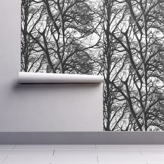 Tree Wallpaper Tree Lace Black And White By Etsy
