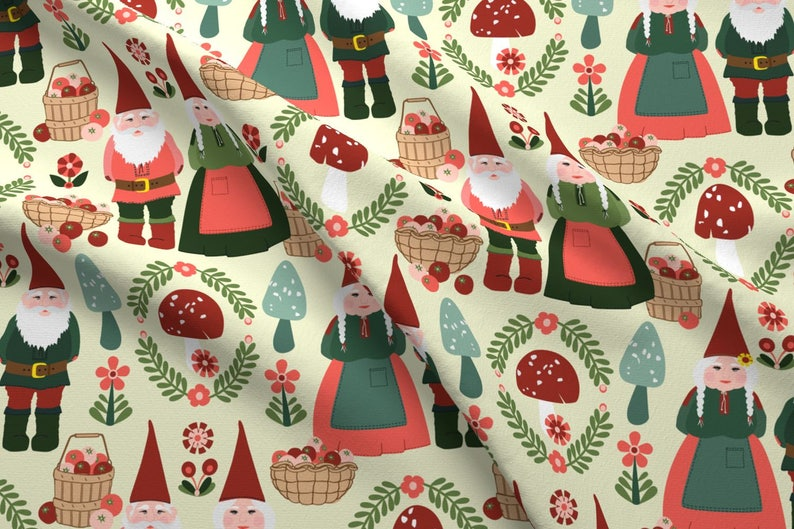Gnomes Fabric - Gnomes By Laura Mooney - Gnomes Woodland Autumn Fall Apples  Orchard Country Folk Cotton Fabric By The Yard With Spoonflower