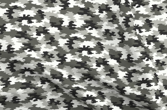Spoonflower Fabric Sewing Shirting Quilting Dresses Apparel Crafts Black White Camo Gray Camouflage Monochrome Snow Sports Fashion Printed on Cotton Poplin Fabric by The Yard