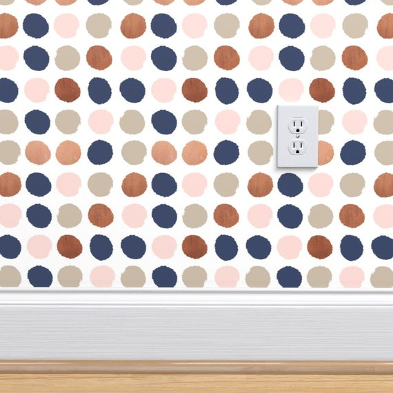 Rose Gold Wallpaper Dots Rose Gold Navy Taupe By Charlottewinter Custom Printed Removable Self Adhesive Wallpaper Roll By Spoonflower