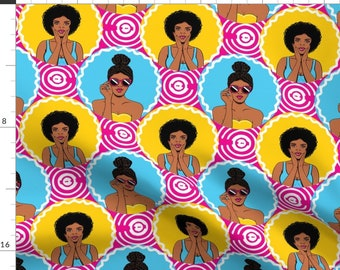 Afro Girls Retro Fabric - African American Girls Retro Pop-Art By Whimsical Brush - Afro Girls Cotton Fabric By The Yard With Spoonflower