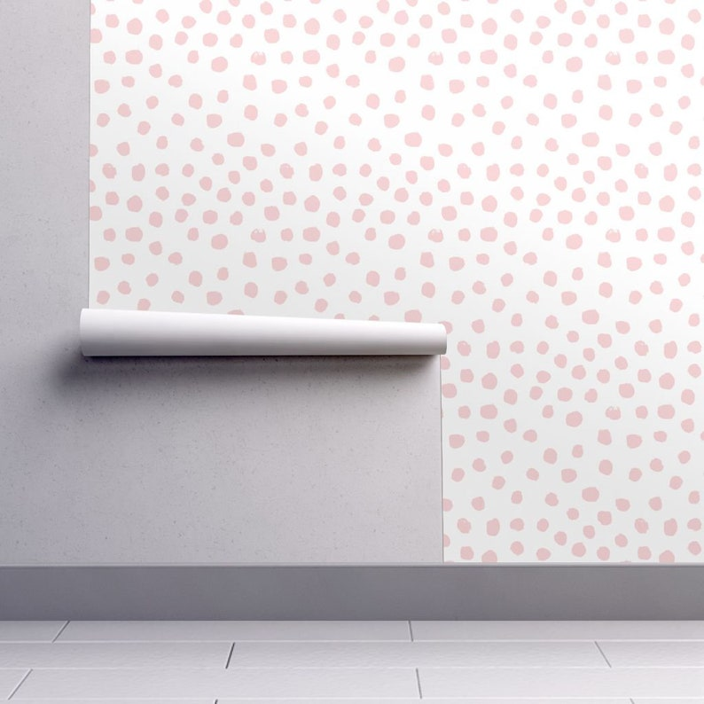Dots Wallpaper Dots Pink Pale Nursery By Charlottewinter Pink White Custom Printed Removable Self Adhesive Wallpaper Roll By Spoonflower