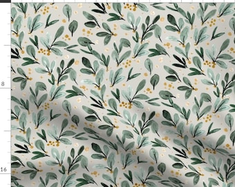 Mistletoe Green Floral Fabric - Winter Berry Sprigs - Gold On Gray By Crystal Walen - Mistletoe Cotton Fabric By The Yard With Spoonflower