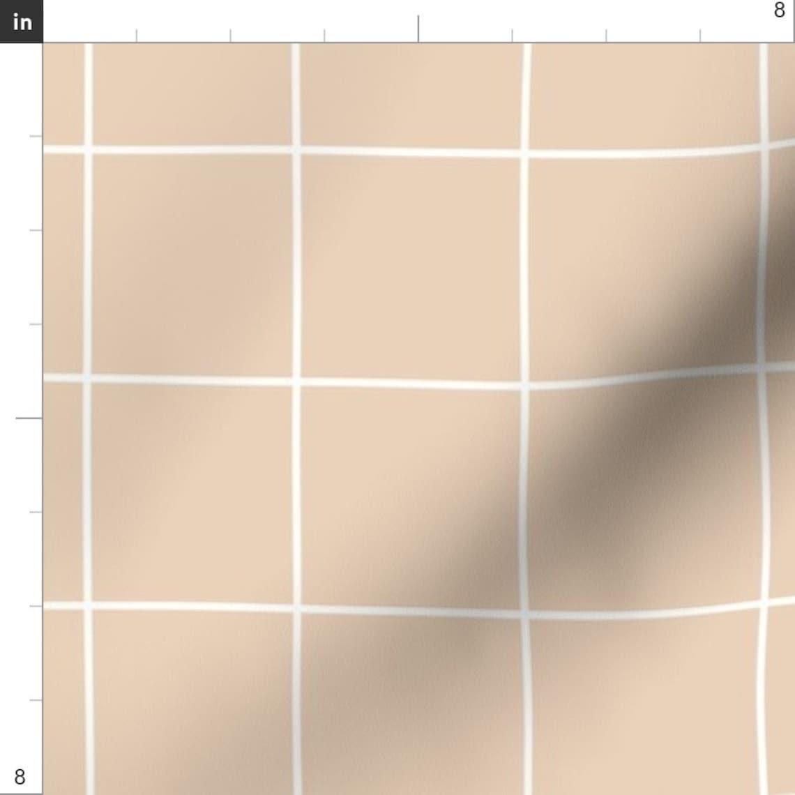 Grid - pastel nude dusty pale orange squ - Spoonflower
