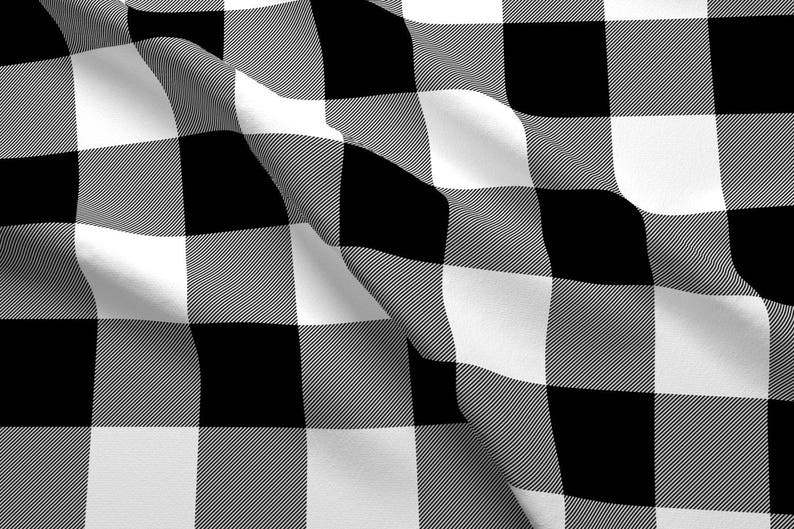 Black And White Plaid Fabric Buffalo Check Black And White Etsy