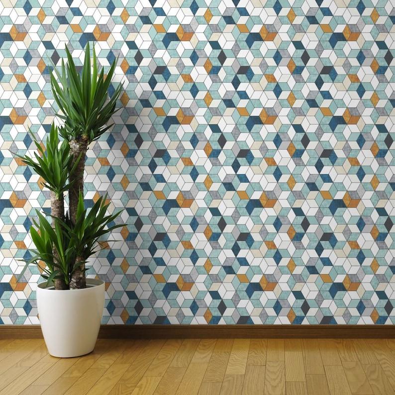 Modern Geometric Hexagon Wallpaper Custom Removable Self Adhesive Wallpaper Roll by Spoonflower Hexo By Nouveau Bohemian