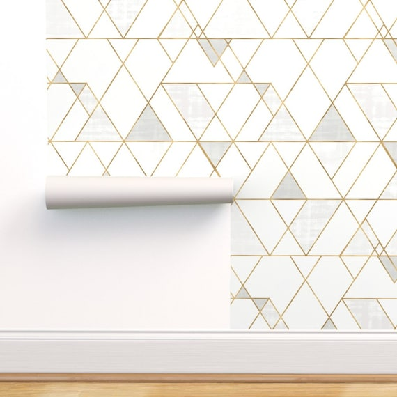 Removable Water-Activated Wallpaper Pastel Geometric Vintage Triangles Mod Navy