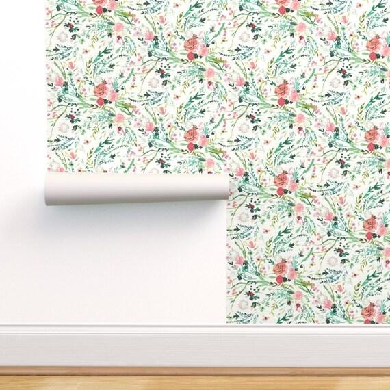 Girl/'s Room Pink Custom Printed Removable Self Adhesive Wallpaper Roll by Spoonflower Floral Wallpaper Spring Flowers By Alenkakarabanova