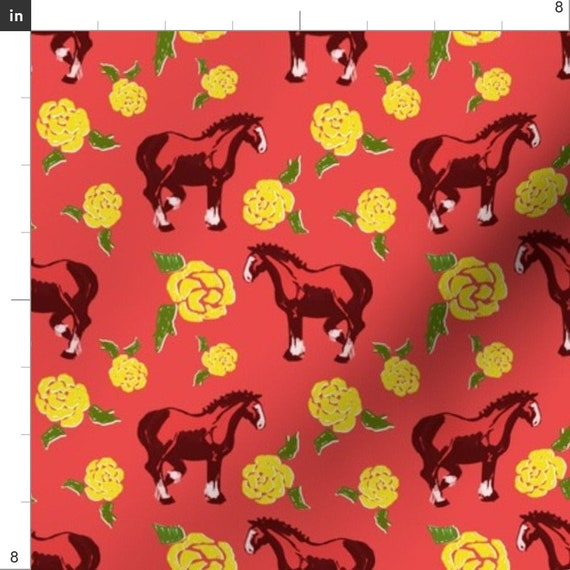 Pony Horses Fabric Digital Cotton Linen Curtain Upholstery Craft Quilting Dress