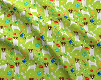 Jack Russell Terrier Fabric - Dog Toys Cute Jack Russell Terrier Fabric By Petfriendly - Dog Pets Cotton Fabric By The Yard With Spoonflower