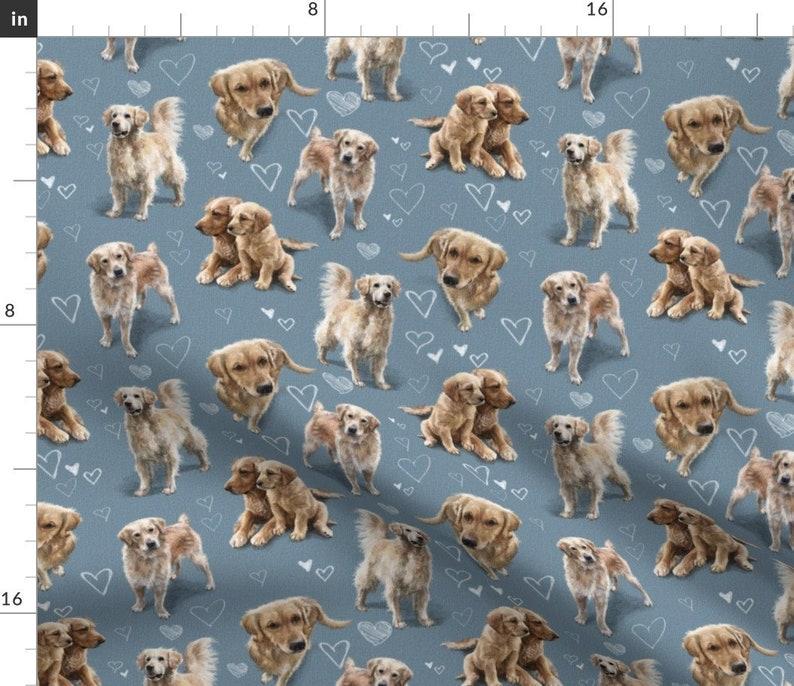 Golden Retriever Blue Dogs Fabric  The Golden Retriever Dogs image 0