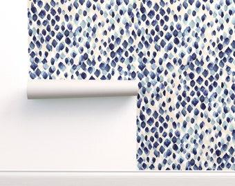 Indigo Blue Wallpaper - Indigo Rain By Crystal Walen - Indigo Blue Custom Printed Removable Self Adhesive Wallpaper Roll by Spoonflower