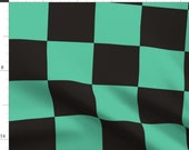 Check Fabric - Geo Squares By Tiffanygordoncosplay - Teal Blue Black Geometric Checkers Chess Cotton Fabric By The Yard With Spoonflower