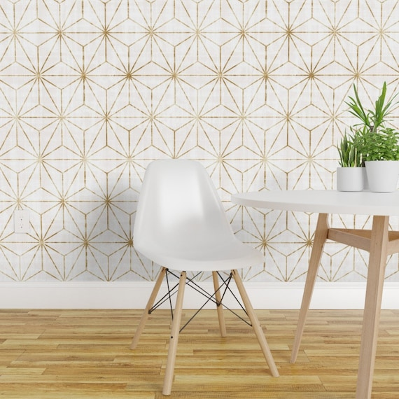 Gold Wallpaper Gold Star By Crystal Walen Gold Geometric Star Custom Printed Removable Self Adhesive Wallpaper Roll By Spoonflower