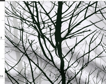 Trees Fabric - Naked Trees By Daria Rosen - Trees Silhouette Black Gray Winter Bare Modern Home Cotton Fabric By The Yard With Spoonflower