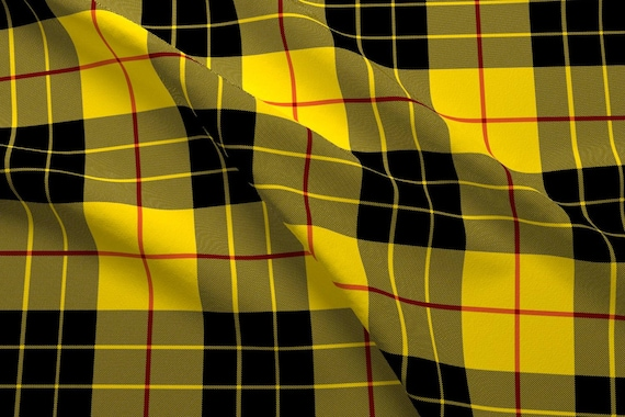 63e97c0c3d609 Yellow and Black Plaid Fabric - Macleod Plaid By Peacoquettedesigns -  Yellow Black School Uniform Cotton Fabric By The Yard With Spoonflower