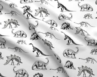 Black and White Dinosaur Fabric - Dinosaur Skeletons, Black And White Dino By Bohobear - Dinosaur Cotton Fabric By The Yard With Spoonflower