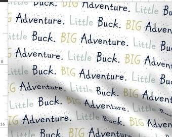 Deer Fabric - Little Buck Big Adventure By Buckwoodsdesignco - Deer Buck Nursery Decor Boy Blue Cotton Fabric By The Yard With Spoonflower