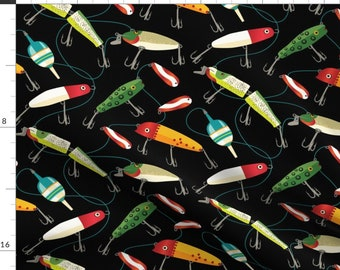 Fishing Fabric - Plenty Of Fishing Lures By Retrorudolphs - Fishing Outdoors Lake River Fish Cotton Fabric By The Yard With Spoonflower