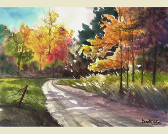 Landscape Painting print watercolor a countrywatercolour autumn seasons road and Fall trees GICLEE VARIOUS SIZES