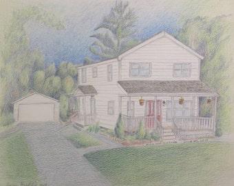 House Illustration - Christmas - Wedding Gift - Engagement