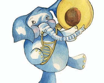 Elephant Print Elephant Tunes Nursrey Art for Girl or Boy