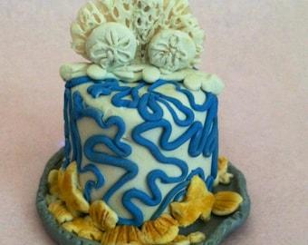 Wedding Cake Ornament - Beach - 1-layer
