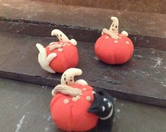 Halloween Miniature - Pumpkins, Ghosts, Black Cat - Pumpkin Ghosts