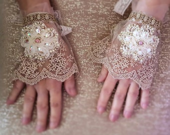 Lace cuffs with bead embroidery, wedding lace jewelry, romantic antique gold silver metallic lace floral cuff, pair bridal textile bracelets
