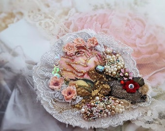 Fairytale rose brooch, romantic floral brooch, pink rose pin, mixed media textile brooch wearable art Swarovski bead embroidery gift for her
