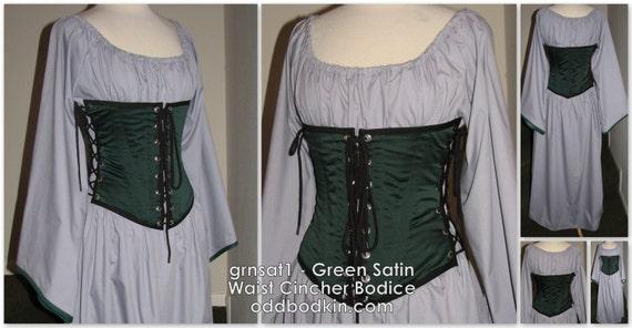 8ab9c929b09 Odd Bodkin Waist Cincher in Green Satin Made to Order