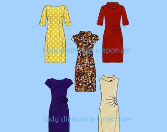 4495e0b95f2 Classic Sheath Dress 5 Styles Womens size 4 6 8 10 12 14 16 Jewel Neck or  Stand-up Collar Sewing Pattern New Look 6000 Uncut FF