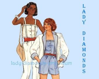 Butterick 6460 Womens Jumpsuit in 2 Lengths Romper Sunsuit Reversible Jacket size 10 Bust 32.5 Vintage 80's Sewing Pattern Uncut FF #253