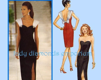 Butterick 6702 Sexy High Slit Evening Dress Plus Size 18 20 22 Formal Prom Bridal Sweetheart Neck Strapless Vintage Sewing Pattern Uncut FF