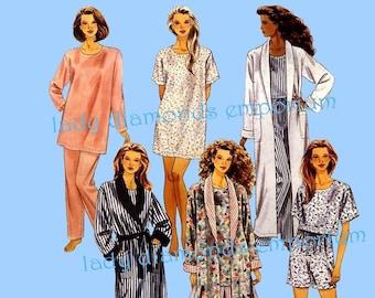 1990s Robe Bathrobe Tunic Top Pants Shorts Nightshirt Pajamas Womens size 4  6 8 10 12 14 Sewing Pattern McCalls 6801 9048 Uncut FF c9334dccc
